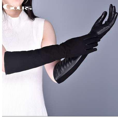 Gours Women's Genuine Leather Gloves Winter Warm Suede Goatskin Touch Screen Long Gloves Fashion Sheepskin Mittens New GSL080