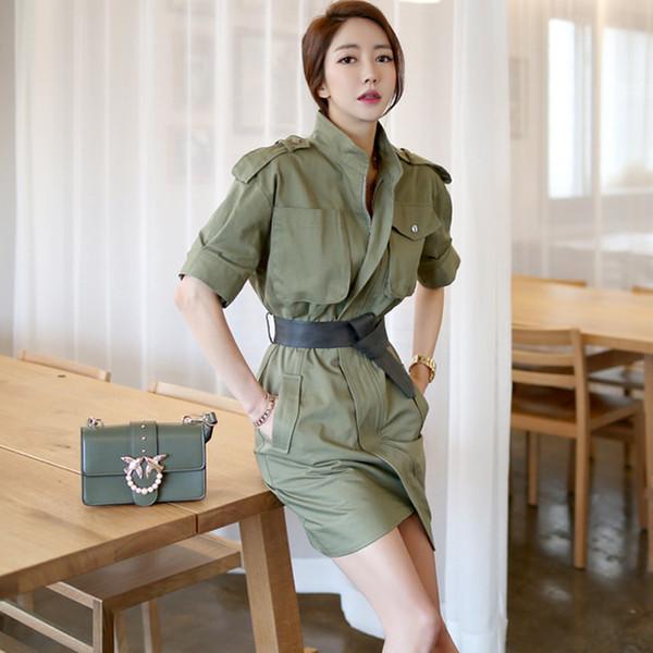 Novo design das mulheres coreano moda gola manga curta exército faixas de cor verde com cinto bodycon vestido de lápis assimétrico SMLXL