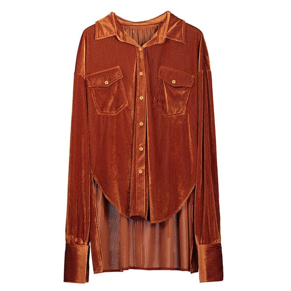 Queenus Women Long Sleeve Shirts Buttons Autumn Velvet Pocket Fashion Asymmetrical Shirt Female Tassel Print Casual Girls Blouse