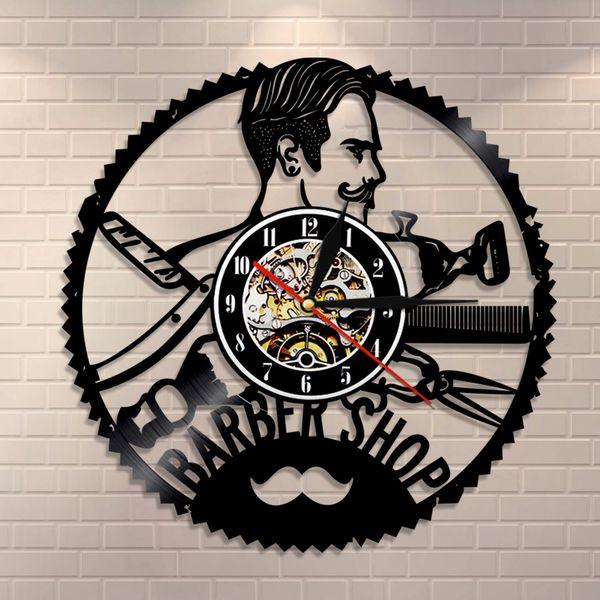top popular 1Piece Hair Salon Record Wall Clock Creative Timepiece Gift ideas for Barber Shop Art Decor Hanging Clocks 2020