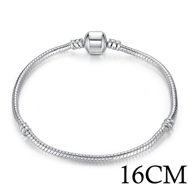 Style Silver Color DIY Snake Chain Beaded Bracelet & Bangle beads Alloy 16 17 18 19 20 21 22 23cm