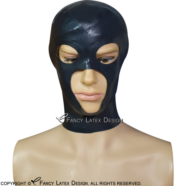 Black Sexy Latex Hood With Zipper At Back Open Large Mouth Small Eyes Holes Rubber Mask TT-0180