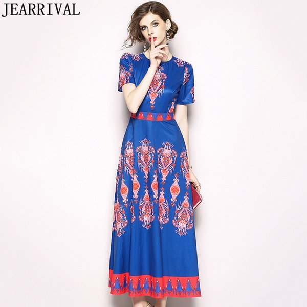 Vintage Runway Summer Dress 2018 New Fashion Women Elegante O-Collo Retro Etnica Stampa Slim Casual Abito lungo Vestidos De festa