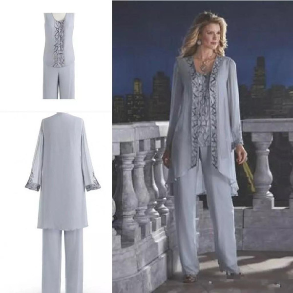 Gray Cheap 2018 Mother Of The Bride Three-Piece Pant Suit Lace Chiffon Wedding Mother's Groom Dress Long Sleeve Wedding Guest Dress