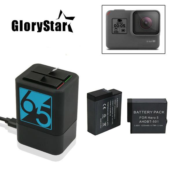 2 pcs 1220 mah bateria recarregável + hero5 6 carregador de bateria dupla para gopro hero 6 gopro 5 preto acessórios da câmera do esporte