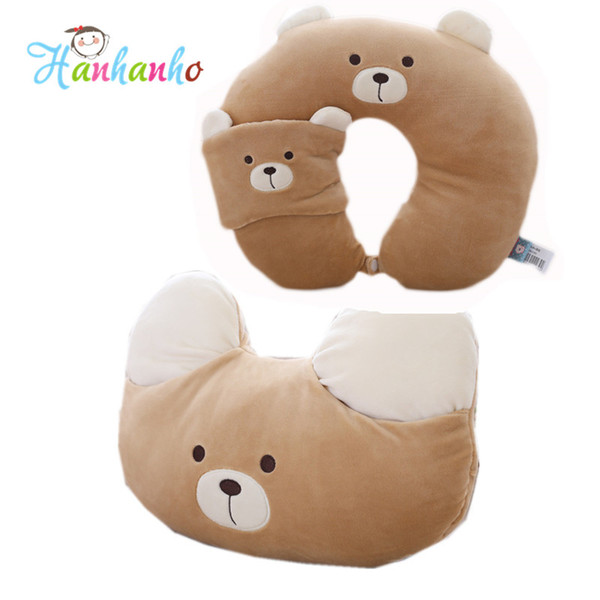 Cute Plush Bear Cushion Cartoon Animal Headrest Children Travel Pillow Lovely Cat Plush Toy Cushion Neck Pillow For Kids