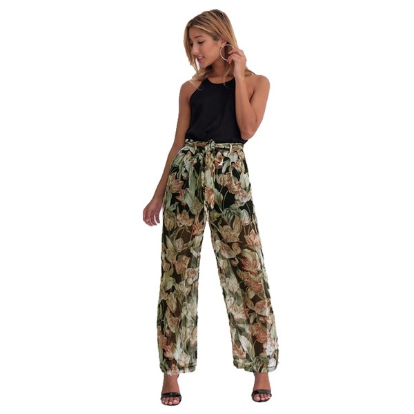 2019 Women Chiffon Wide Leg Pants Floral Print Loose Thin Belted Trousers Summer Beachwear Anti-mosquito Long Pants White/Black