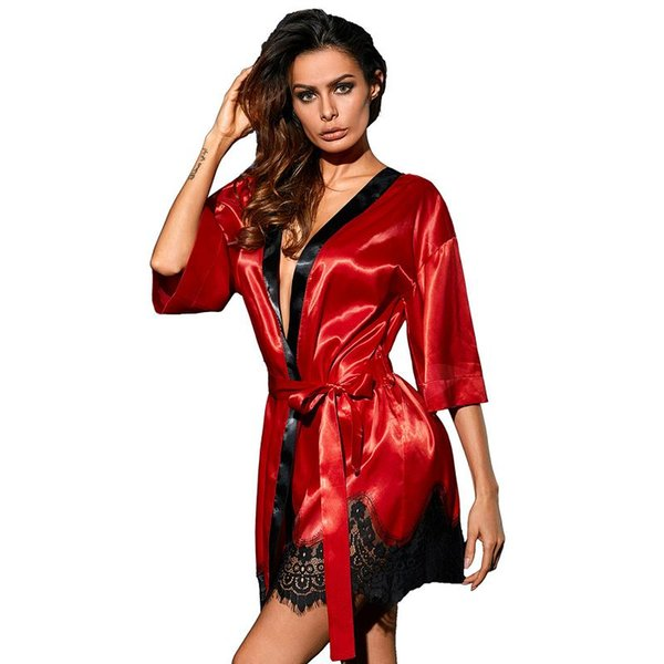 Dreszdi Sexy Red Women Nightwear Cardigan Tops Half Sleeve Blue Scalloped Kimono Blouse Black Satin Lace blusa feminina