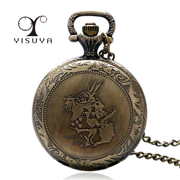 Retro Alice in Wonderland Rabbit Quartz Pocket Watch Necklace Pendant Full Hunter Fob Watch Family Kids Xmas Gifts Cute Clock