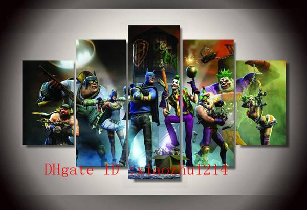Batman Clown,5 Pieces Home Decor HD Printed Modern Art Painting on Canvas (Unframed/Framed)