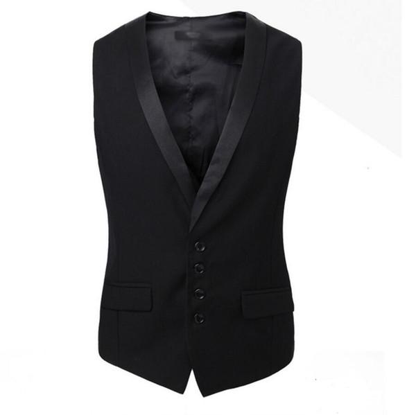 2017Men Suits Vests Gilet New Arrival Men Vest Slim Fit Fashion Male Waistcoat Black custom Colors Formal Business Male Clothing