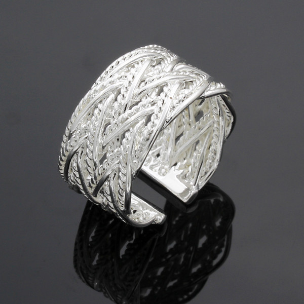 Fine 925 Sterling Silver Ring for Women Men,New Arrival XMAS Wholesale Fashion jewelry 925 Silver Net Cuff Ring 2018 Link Italy AR23