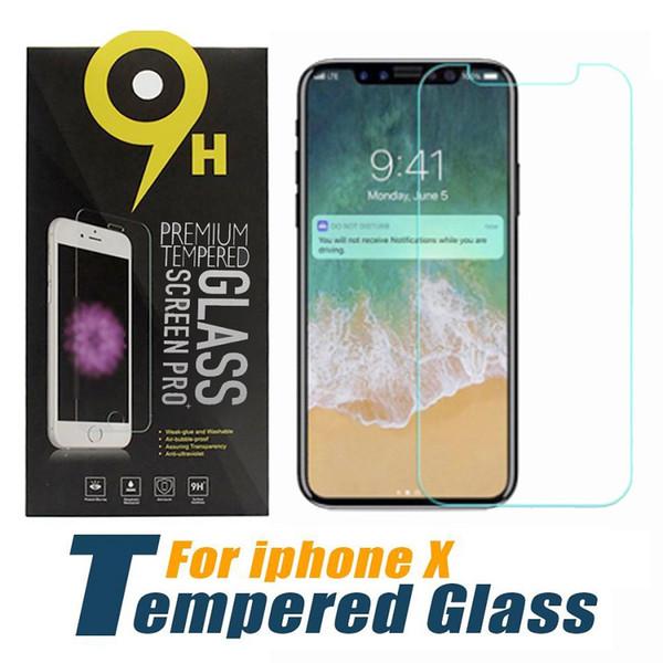Per il nuovo iPhone 2018 Proteggi schermo in vetro temperato per iPhone X 8 per iPhone 7 7 Plus Edition Film 0.33mm 2.5D 9H Pacchetto carta antisfondamento