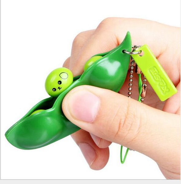 DHLFREE 90 PCS Creative Amusant Haricots Jouets Pendentifs Extrusion Pois Haricot Soybean Edamame Stress RelieveToy Keychain