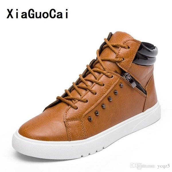 XiaGuoCai Man Casual PU Boots Ankle Zipper Lace-Up Round Toe flat Korean cozy Non-slip high quality Wild Stylish fashion YC452