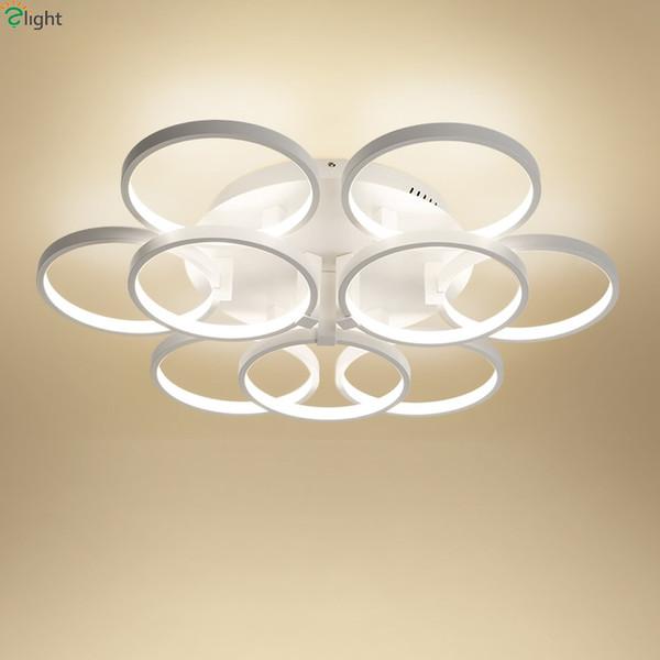 Modern Rotatable Alumínio Anéis Dimmable Led Lustres Lustre Quarto Acrílico Led Lustre de Teto Luzes de Iluminação Luminárias