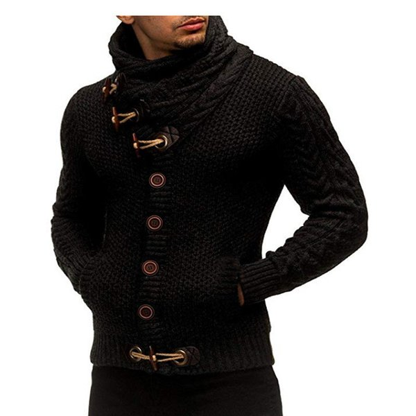 Mens Winter Turtle Neck Sweaters Horn buckle Vintage Knitted Sweaters Black Brown Warm Cardigan free Shipping