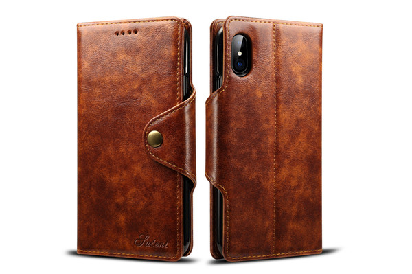 For iPhone X 8/7 Plus Wallet PU Leather Case With Strong Magnetic Clasp Folio Flip Kickstand Cell Phone Protective Cover With Card Holder