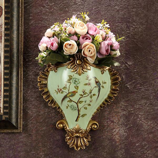 Amerikanische Wand Dekorative Hängende Vase Harz Handwerk Europäischen Wohnzimmer Retro Gefälschte Blume Gefäß Wandbild Hochzeit Decor Kunst