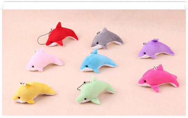 Cute Mini Dolphin Charms Kids Plush Toys Pendant Children Gift Home Party Decorations Dolphin Cell Phone Accessories