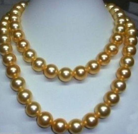 GORGEOUS 35 INCH 10-11 MM AAA SOUTH SEA GOLDEN PEARL NECKLACE 14K GOLD