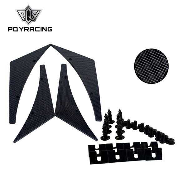 PQY RACING - Fibra de carbono Ajuste universal Parachoques delantero Aletas divisor de labios Cuerpo Alerón Canards Valence Chin Winglets PQY-BS22
