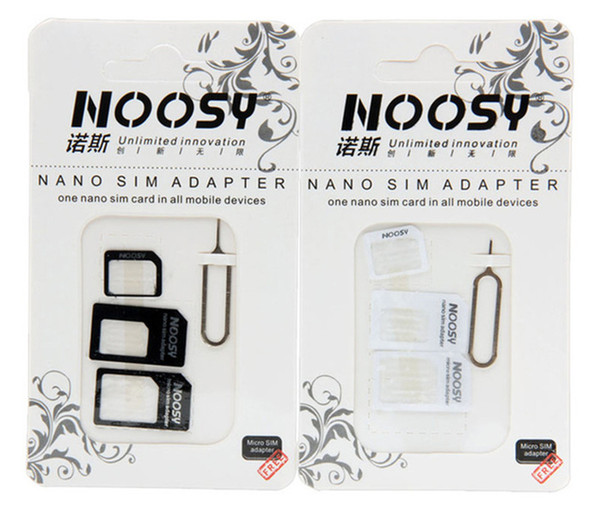 4 en 1 NOOSY Nano Micro Estándar Sim Tarjeta Convertidor Sim Adaptador Micro sim Tarjeta Buena calidad