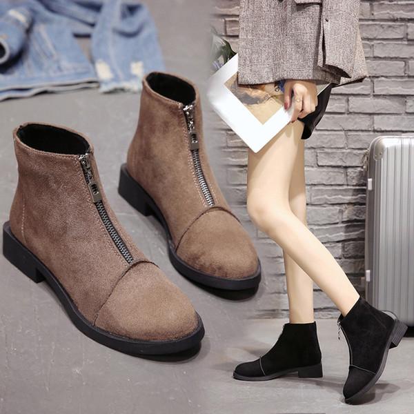 Женщины квадратный каблук Обувь Подорожник сапоги замша молнии сплошной цвет круглый Toe обувь Женщина зима Леди сапоги для дропшиппинг
