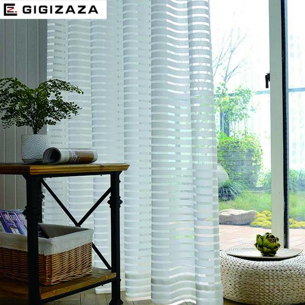 Großhandel Sunny Solid Streifen Voile Fenster Gardinen Für ...