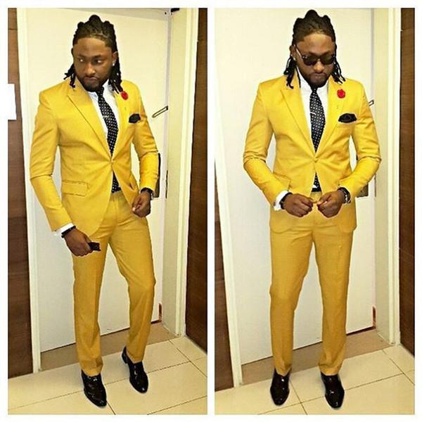 Yellow Wedding Groom Men Suit 2 Pieces(Jacket+Pants+Tie) One Button Slim Fit Suits Tuxedo Costume Stage Groomsman Suit