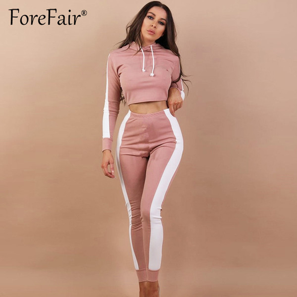 Forefair 2018 Casual Tracksuit Women 2 Pieces Set Outfit Long Sleeve Hooded Hoodies And Slim Long Pants Suits