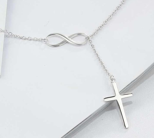 20pcs/lot Silver Plated Cross Pendent Infinity Cross Necklace Cross Chain Necklaces For Women