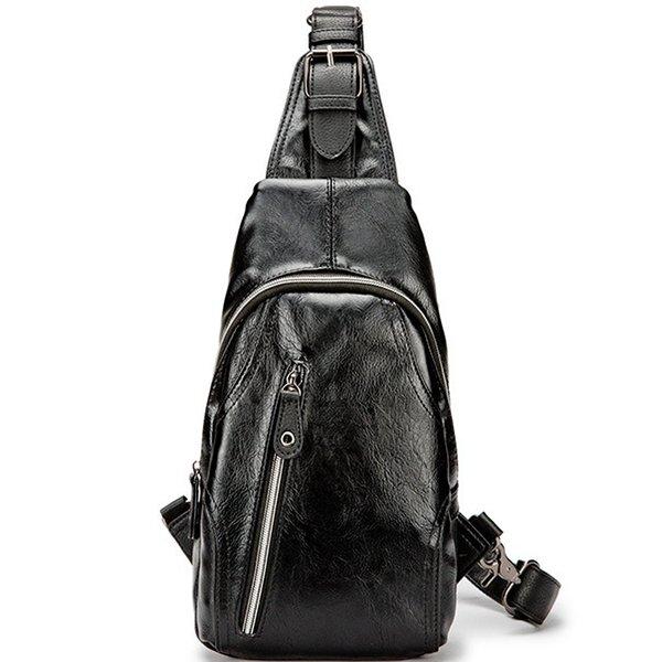 Мужская черная кожаная сумка через плечо Повседневная сумка для путешествий с подвеской Классная стильная сумка для повседневного использования Мягкий противоугонный рюкзак