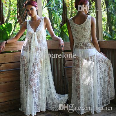 Wholesale-NEW! Fashion Women Honeymoon White Lace Maxi Dress , Women Summer Beach Dress, Sexy Beach Wear