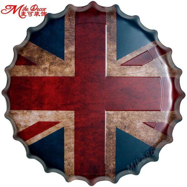 Satın Al Mike86 Ingiliz Bayrağı şişe Kapağı Metal Boyama Vintage