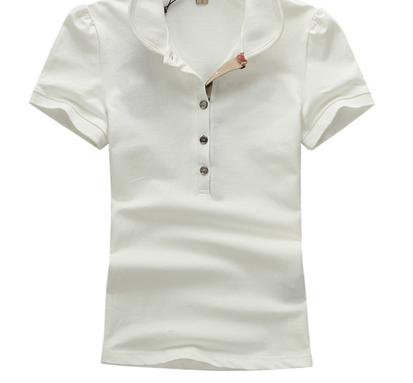 Hot Women's shirts Fashion Casual Sleeve Five Buttons Shirt For Women Cotton Blouse Polos white T Woman Clothes T-shirt