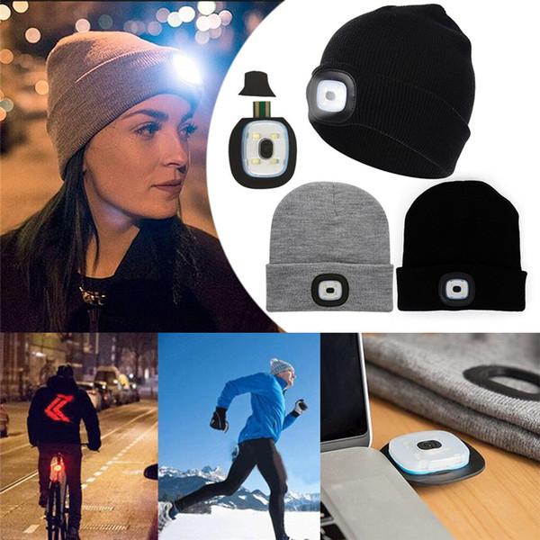 Creativo con 4 LED Torcia cappello a maglia luce di testa cappello di illuminazione ricaricabile luce esterna di sicurezza per il fitness pesca in campeggio