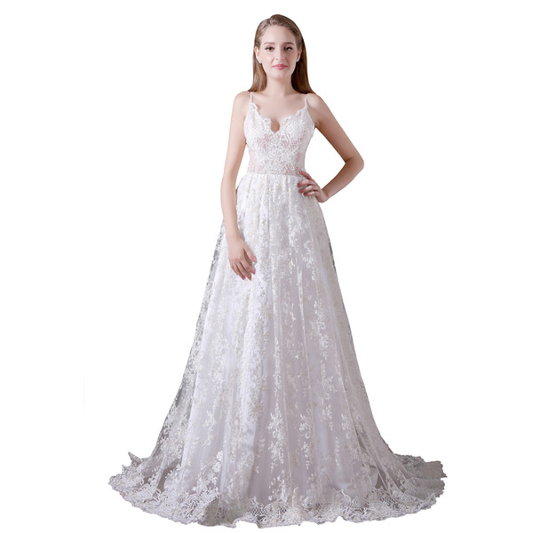 A Line Lace Wedding Dress Beach Wedding Dresses Long Sexy Backless Floor Length Sexy Backless Cmw0022 One Shoulder Wedding Dresses Plus Size Casual