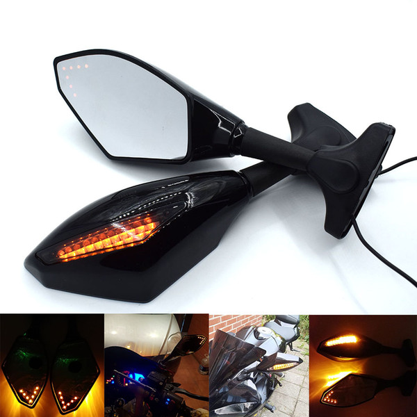 For Honda CBR 600 F4i 929 954RR Yamaha Suzuki Motorcycle Sport Bike Rearview Mirror LED Turn Signals Rear View Mirror View