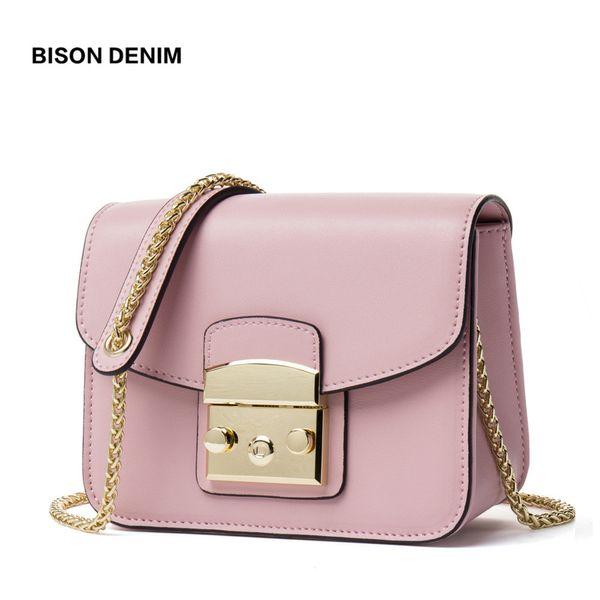 BISON DENIM Genuine Leather Women Bag Cowhide Crossbody Bags for Women 2018 Flap Chains Shoulder Bag Luxury Women bags N1411 D18102303