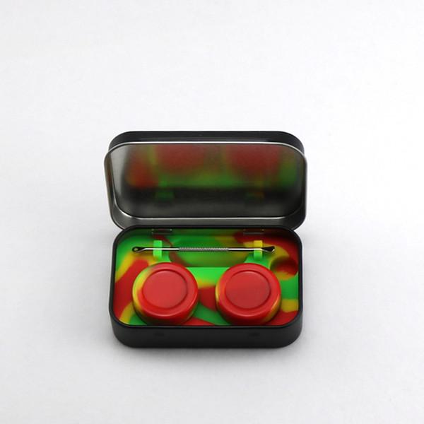 4 em 1 Estanho Kit De Armazenamento De Silicone Set com 2 pcs 5 ml Recipiente De Cera De Silício Óleo Jar Base de Dab Dabber Ferramenta Caixa de Prata Caixa Preta de Metal DHL