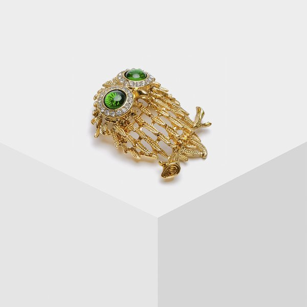 Amorita boutique goat design trendy jewelry gold color Owl brooches