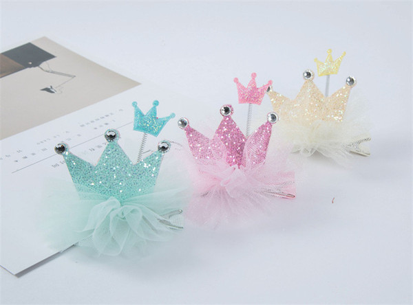 10pcs/lot 2018 New Spring Baby Sequins Princess Crown Hair Clips Cute Kids Hair New Arrival Pink Color Hairpins Korean materials