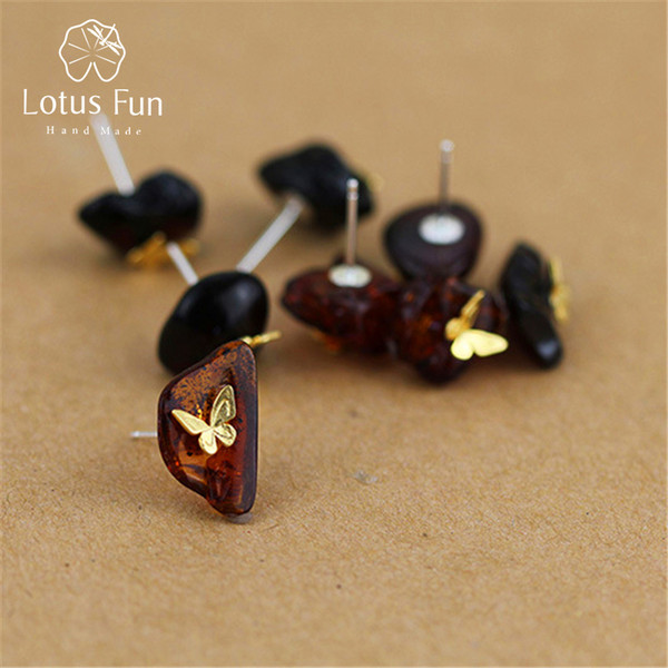 Lotus Fun Real 925 Sterling Silver Natural Amber Handmade Fine Jewelry Looking Back Butterfly Stud Earrings for Women Brincos S18101207