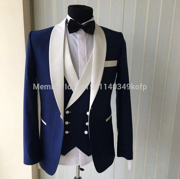2017 Brand Men Suits With Pants Italian Style White Shawl Lapel Classic Slim Fit Blue Wedding Tuxedo Groom Wedding Suits For Men