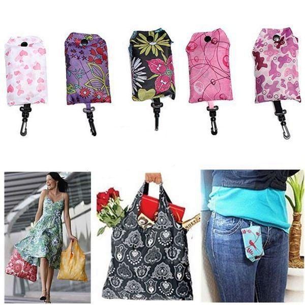 Neue Faltbare Handliche Einkaufstasche Wiederverwendbare Tasche Recycle Storage Handtaschen Home Storage Organisation Tasche c714