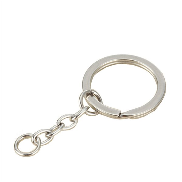 Simple Design Split Key Ring with Chain Split Key Chian Silver Gold Guqing Color Metal Split Keychain Ring Parts Jump Rings