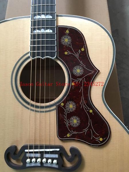2018 New + Factory + Chibson J200 flamme érable guitare acoustique J200 électrique acoustique Deluxe guitare épicéa top acoustique + personnaliser