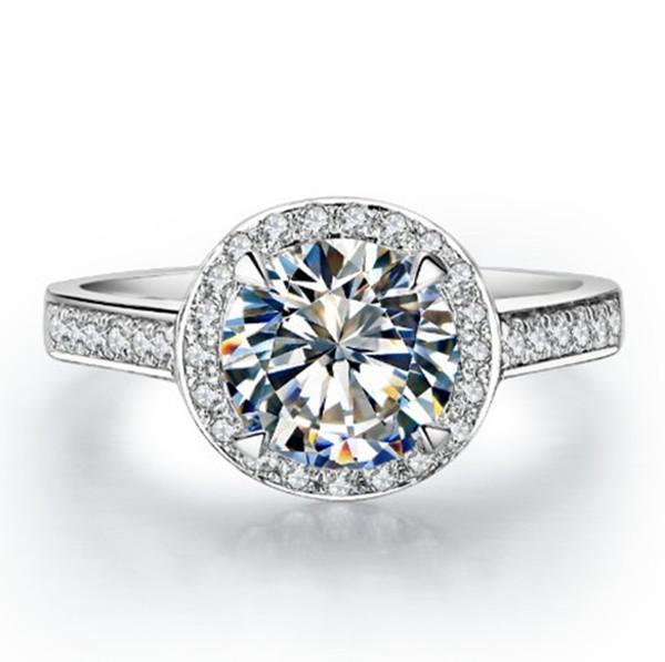 Anello di fidanzamento all'ingrosso 1.5CT SONA diamanti sintetici donne anello in argento sterling 925 gioielli retrò gioielli da sposa