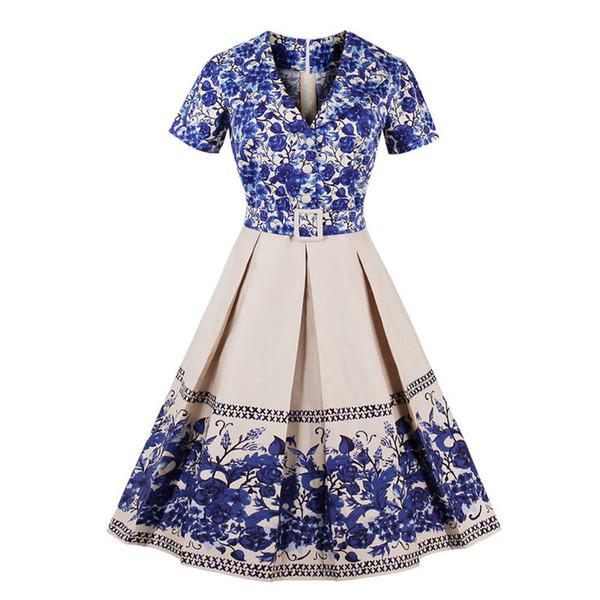 782e7e46127 2018 Womens Blue And White Porcelain Print Summer Dress Elegant Ladies Retro  Vintage 50s Short Sleeve Party Swing Dresses S-4XL